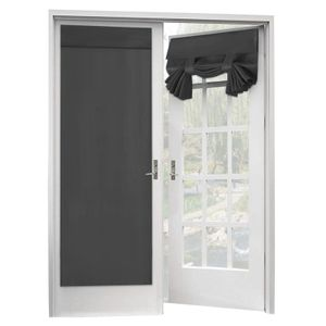 Französischer Türvorhang 2er-Set mit wärmeisoliertem Blackout-Glastür-Vorhangpaneel mit Klettverschluss Tricia-Vorhang, 2 Paneele, 26 x 68 Zoll, Dunkelgrau