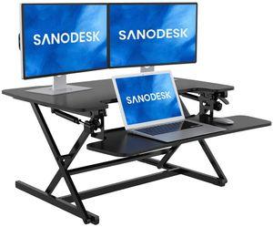 SANODESK Sitz Steh Schreibtisch Stehpult 89 * 59cm Höhenverstellbarer Schreibtisch Schreibtischaufsatz Doppelmonitor-Riser (M8MB)