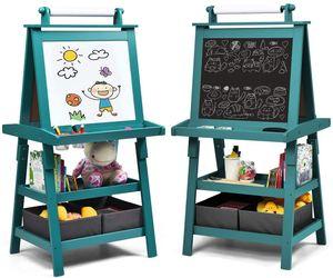 COSTWAY 3 in 1 Kinder Staffelei, Kindertafel doppelseitig, Whiteboard & Kreidetafel & Zeichenpapier, Standtafel inkl. Magneten, 2 Regalebenen Holztafel mit 2 Aufbewahrungsboxen Blau