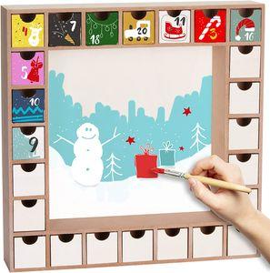 BRUBAKER Wiederverwendbarer Adventskalender zum Befüllen mit 24 Schubladen - DIY Weihnachtskalender zum Bemalen, Basteln und Selbstgestalten - Blanko - 33 cm Höhe