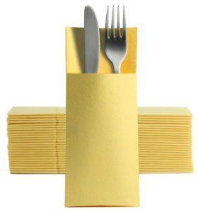 50 Softpoint Besteckservietten Bestecktaschen gelb