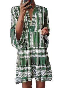 Damen Glockenärmel Rüschen Schicht Saum Minikleid Floral Flare Long A Line Kleid,Farbe:Grün, Größe:M
