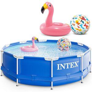Intex 305x76 cm Prism Metal Frame Swimming Pool Schwimmbecken 28200 mit Extra-Zubehör wie: Schwimmreifen und Strandball