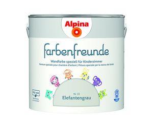 Alpina 2,5 L. Farbenfreunde - Elefantengrau No. 22   - Wandfarben speziell für Kinderzimmer, Kind, Baby