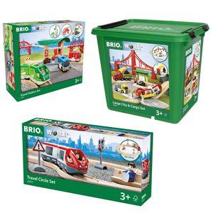 BRIO Mega Sparpaket-Bundle Set City & Frachten Reisezug Bahn Starter Holzeisenbahn