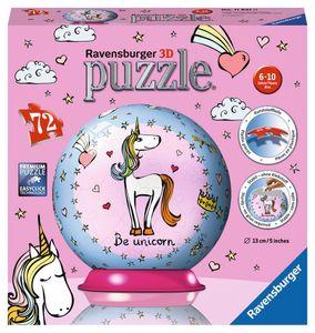 RAVENSBURGER 3D-Puzzle Einhorn Puzzleball Kinderpuzzle Spielzeug 72 Teile ø13 cm