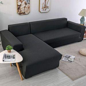 2tlg. Sofabezug L-Form Schnittsofa elastische Sofahusse Abdeckung + 2tlg. Kissenbezüge für modernes Schnittsofa Schwarz