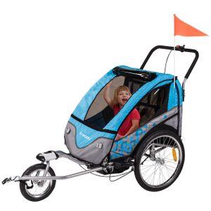 FROGGY Kinder Fahrradanhänger 360° Drehbar mit Federung + Joggerfunktion + 5-Punkt Sicherheitsgurt, 2in1 Anhänger für 1 bis 2 Kinder, Design Cyan