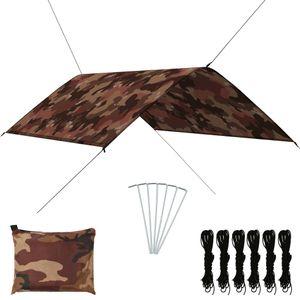 [HOMMIE]Outdoor Tarp   Tarp für Hängematte Camping Zeltplane Wasserdicht Sonnenschutz UV Schutz 3x2 m Camouflage größe:300 x 200 cm Multifunktionale5435