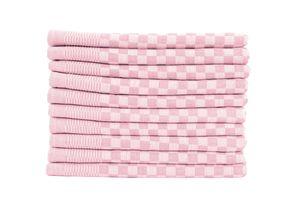 10er Set Luxus Grubentücher 50x70 cm 100% Baumwolle 210 g/m² Spühltuch Küchentücher Geschirrtücher 75g, Farbe:rosé