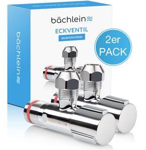 Bächlein Universal Eckventil selbstdichtend [2er Set], Eckregulierventil  mit klassischem Schraubverschluss