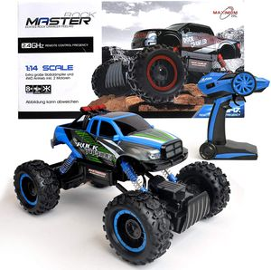 FunTomia Maximum RC Ferngesteuertes Auto für Kinder - 4WD Monstertruck - XL RC Auto für Kinder ab 8 Jahren 2,4 - GHz- Rock Crawler (blau) - 2450
