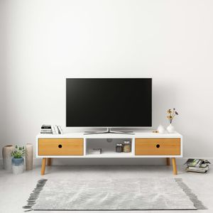 Huicheng TV-Schrank Weiß 120 x 35 x 35 cm Massivholz Kiefer