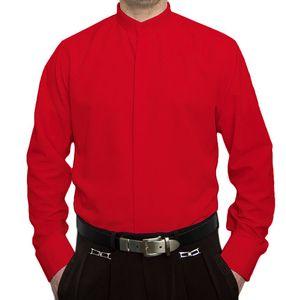 Designer Herren Stehkragen Hemd Hochzeit Business verdeckte Knopfleiste S9 Langarm Gr. M - XXXL, Farbe Stehkragen:Rot, Größe S-M-L usw:M