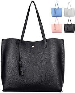Damen Vintage Tote Beutel Schultertasche Handtasche Quasten Handtasche Elegant Umhängetasche Kunstleder Shopper Henkeltasche (Black)