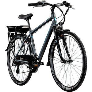 Zündapp Green 7.7 E-Bike 700c Trekkingrad Herren 28 Zoll Pedelec Tourenrad Trekking, Farbe:grau/blau, Rahmengröße:48 cm
