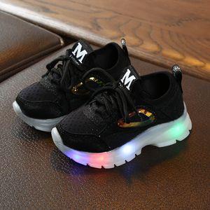 Kinder Baby Mädchen Jungen Atmungsaktive Mesh Led Luminous Sport Run Sneakers Schuhe Größe:23,Farbe:Schwarz