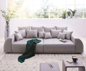 Bigsofa Violetta Grau 310x135 cm abgesteppt inklusive 12 Kissen Big-Sofa