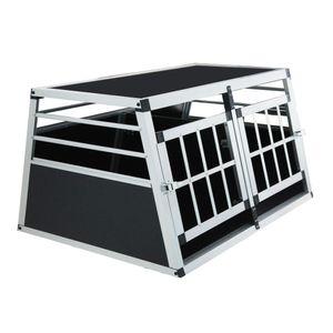 Alu Hundetransportbox XL-UP 89x69x51cm mit Trennwand Doppeltür verschließbar Türig Reisebox Auto Hundebox Aluminium Transportbox für Hunde