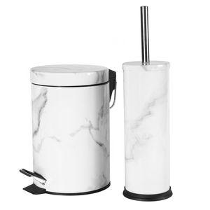 Harbour Housewares 2 Stück Badezimmer Treteimer & Toilettenbürste Set - Marmor