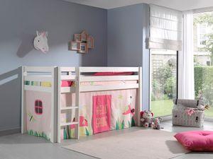 """Vipack Spielbett Pino, Liegefläche 90x200 cm mit Textilset Vorhang """"Spring"""""""