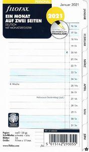 Filofax Kalendereinlage Personal: Ein Monat auf zwei Seiten tabbed 2021 deutsch mit Monatsregister