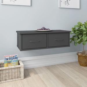 [BEST SELLER] Wand-Schubladenregal/Wandregal/Hängeregal/Modern-Design für Wohnzimmer Schlafzimmer Büro Grau 60x26x18,5 cm Spanplatte*3004