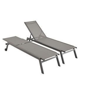 Set mit 2 ELSA Sonnenliegen aus grauem Aluminium und dunkelgrauem Textilene, Liegestühle mit mehreren Positionen und Rädern