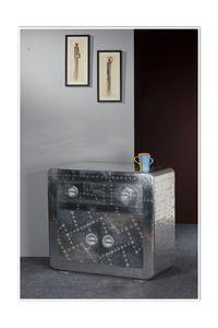 SIT Möbel Kommode Airman, Alu Optik mit Zierschrauben | B 90 x T 40 x H 80 cm | silber | 81710-21  | Serie AIRMAN