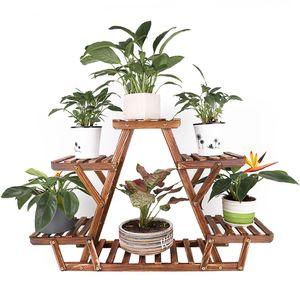 WISFOR Blumenregal Blumentreppe 6 Ebenen Pflanzentreppe für Indoor Balkon Wohzimmer Outdoor Garten Dekor Pflanzenregal Holz 71×25×58cm