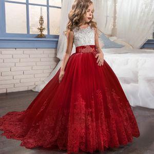 Mädchen Prinzessin Kleid Blumenmädchen Hochzeitsfest Kleid Nachlaufender Rock, Größe:160 Rot