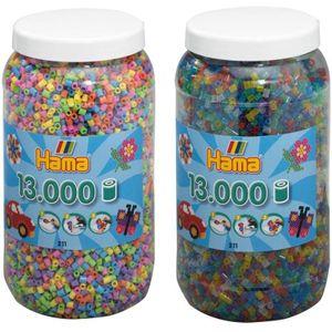 Hama Midi 211-X Bügelperlen Dose 2x 13000 Stück Glitzer Pastell 26000 Perlen Set