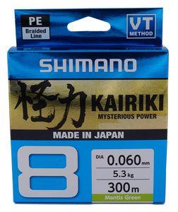 Shimano Kairiki 8, 300m, 0,2mm, 17.1 / 37,7lbs, Mantis Grün, 8fach Geflochtene Angelschnur, 59WPLA68R05