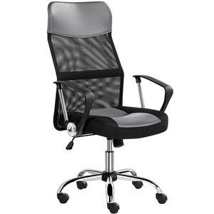 Yaheetech Bürostuhl, Schreibtischstuhl ergonomisch, atmungsaktiver Bürodrehstuhl mit hoher Netz-Rückenlehne, Wippfunktion Office Chair, Belastbar bis 135 kg Grau