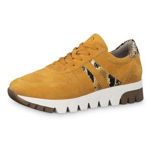 Tamaris Damen Sneaker Sneaker Low Veloursleder gelb 39