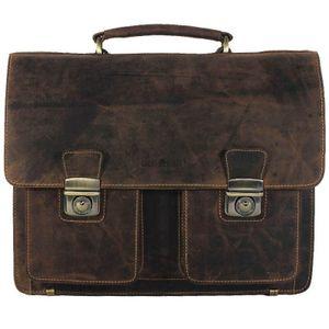 GREENBURRY Vintage Aktentasche Office Bag Rindleder braun