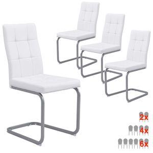 B&D home® Schwingstühle 4er set Leder weiß vintage Freischwinger Essstuhl Essgruppe Lederstuhl Polsterstuhl