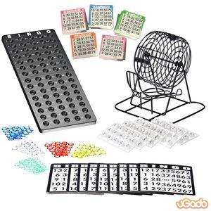 Bingo Spiel Set mit Bingotrommel aus Metall   75 Kugeln   500 Bingokarten   150 Bingochips   Ergebnisbrett FBA