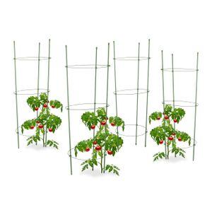 relaxdays 4x Rankhilfe im Set Tomatenstäbe Rankgerüst Gemüserankturm Tomatensäule Rankstab