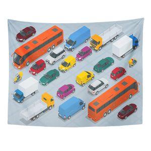 ECZJNT Car Flat 3D Isometrische High City Transport Limousine Van Cargo Truck Offroad Bus Roller Motorradfahrer Wandkunst Hängende Tapisserie 150x200 cm