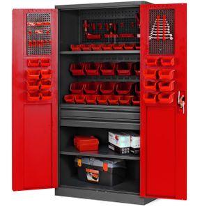 Werkzeugschrank Werkstattschrank mit Schubladen Flügeltüren 3 Fachböden Pulverbeschichtung 185 cm x 92 cm x 50 cm (anthrazit-rot)