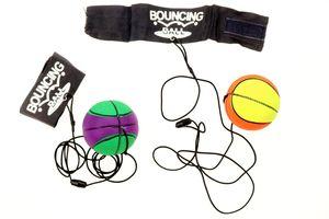 2er Set Springball/Returnball/Flummi Ø6,3cm Armband & Schnur, Safety Clip, Fußball/Basketball/Tennisball/Baseball