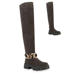 VAN HILL Damen Stiefel Overknees Blockabsatz Ketten Profil-Sohle Schuhe 837785, Farbe: Olivgrün Velours, Größe: 39