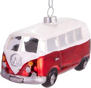 BRUBAKER Bulli Bus Rot Weiß - Handbemalte Weihnachtskugel aus Glas - Mundgeblasener Christbaumschmuck Figuren lustig Deko Anhänger Baumkugel - 10 cm