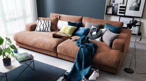 Big Sofa Stoff verschiedene Farben KAWOLA cognac E