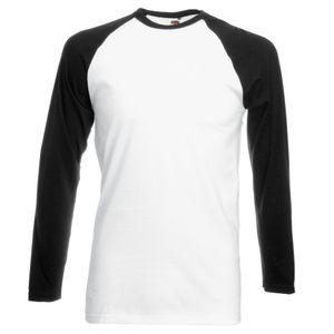 Fruit Of The Loom Herren Baseball T-Shirt, langärmlig BC328 (XL) (Weiß/Schwarz)