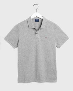 GANT Herren Poloshirt - PiqueSS RUGGER, Halbarm, Knopfleiste, Unifarben Grau XL