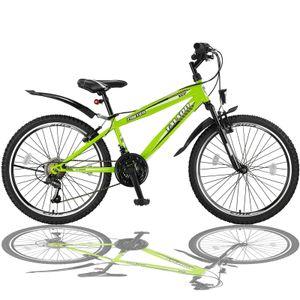 24 Zoll Fahrrad MTB mit Beleuchtung und SHIMANO 21-Gang FSTR Grün