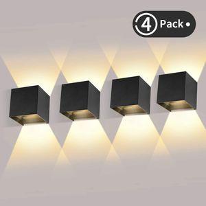 4 Pack 12W LED Wandleuchten Innen/Außen Wandlampe Auf und ab Einstellbarer Lichtstrahl 2700-3000K Warmweiß