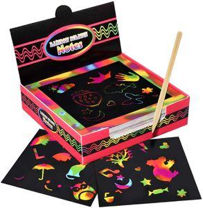 Kratzbilder für Kinder, 100 Stücke Kinder Kratzpapier mit Stift Kritzelkarten Magic Color Bestes Gechenk— QingShop
